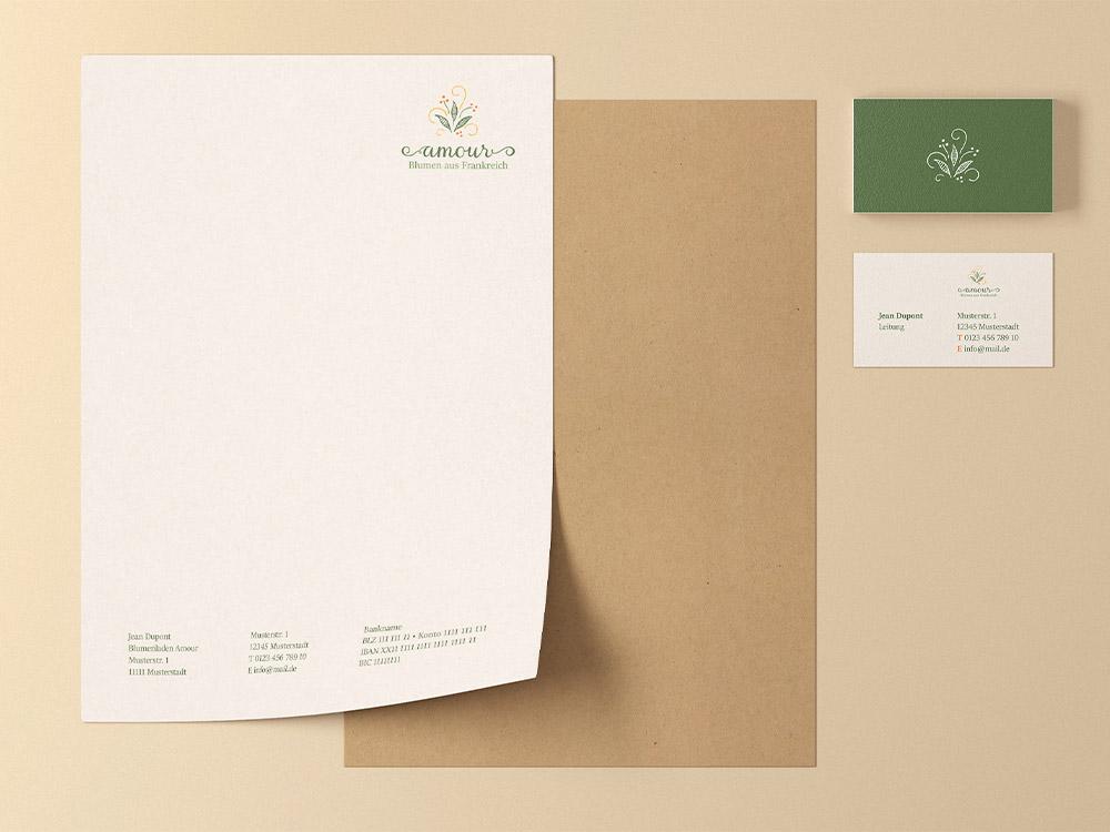 Briefbogen und Visitenkarten für einen Blumenladen