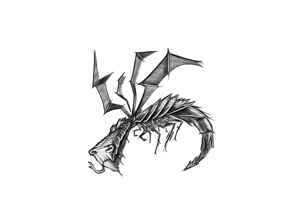 Drache, Illustration fuer Inktober 2020 auf Instagram