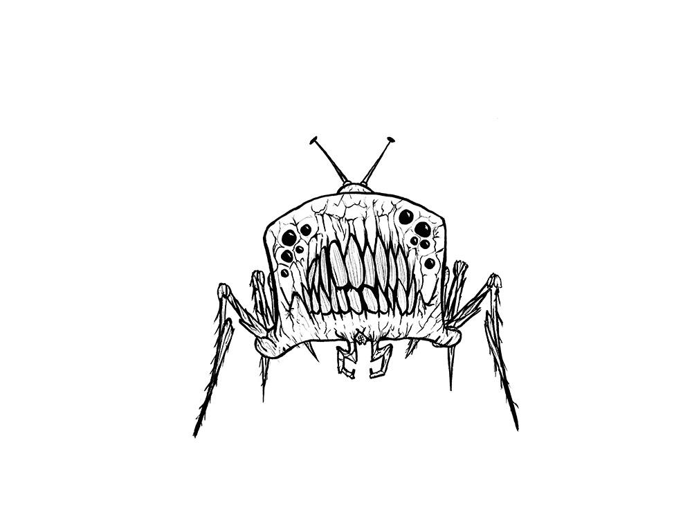 Radio-Monster, Illustration fuer Inktober 2020