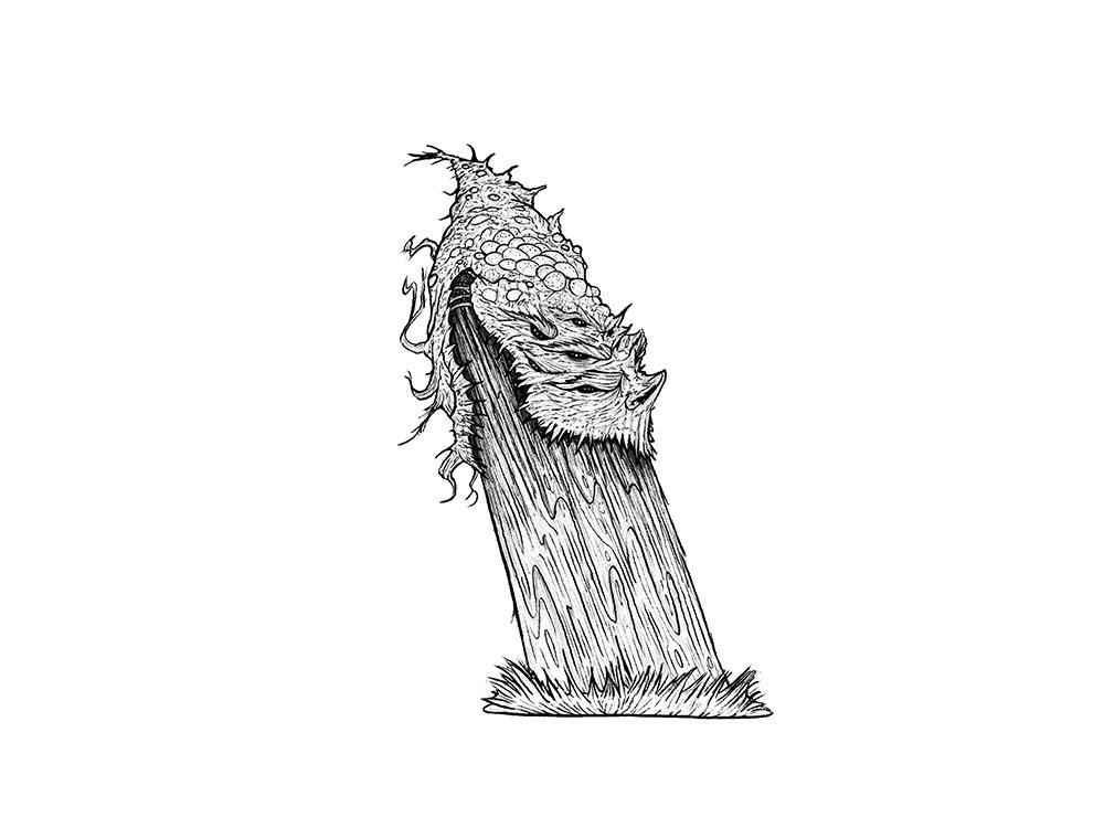 Das Spuckmonster, Illustration fuer Inktober 2020