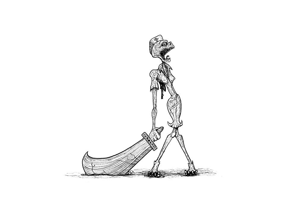 Zombieillustration fuer die Inktober-Challenge 2020 auf Instagram