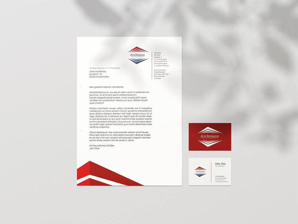 Briefbogen und Visitenkartengestaltung fuer ein Architekten