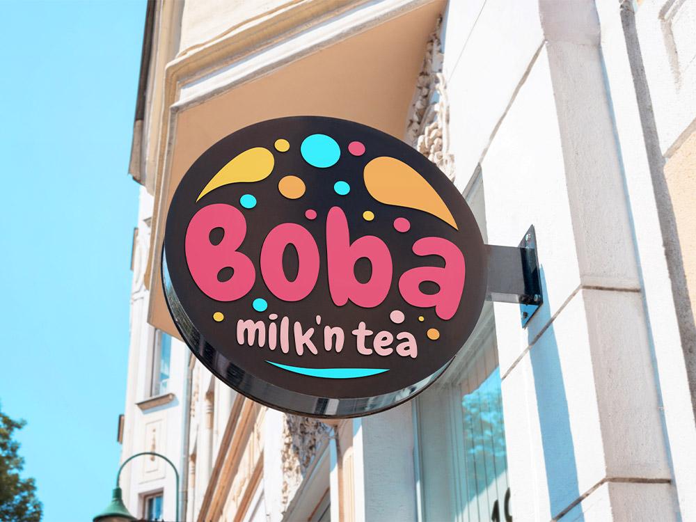 Ladenschild fuer einen Bubble Tea Shop