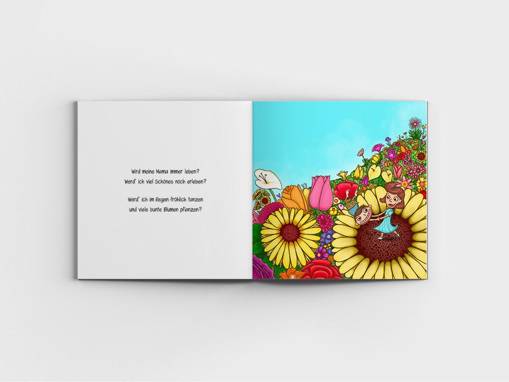 Kinderbuch, Junge tanzt mit seiner Mutter auf einer Wiese