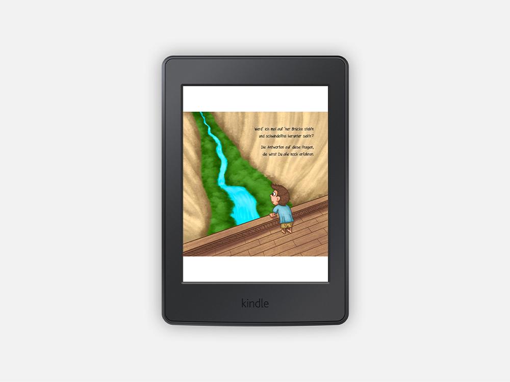 E-Book Version, Junge steht an der Brücke