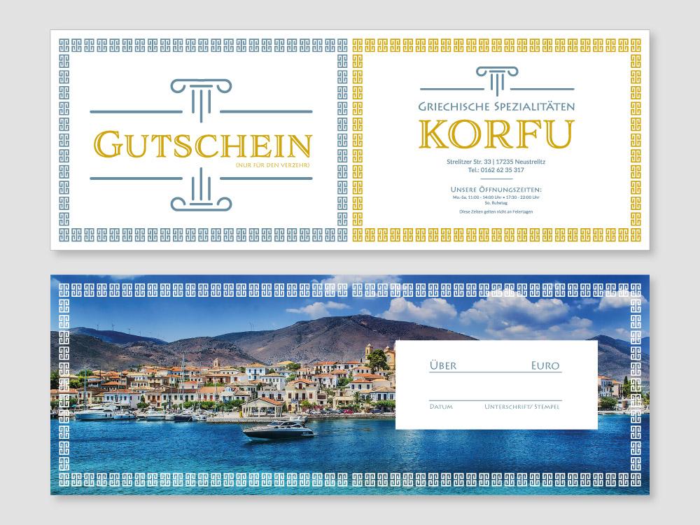 Gutscheinkarten für das Restaurant Korfu in Neustrelitz
