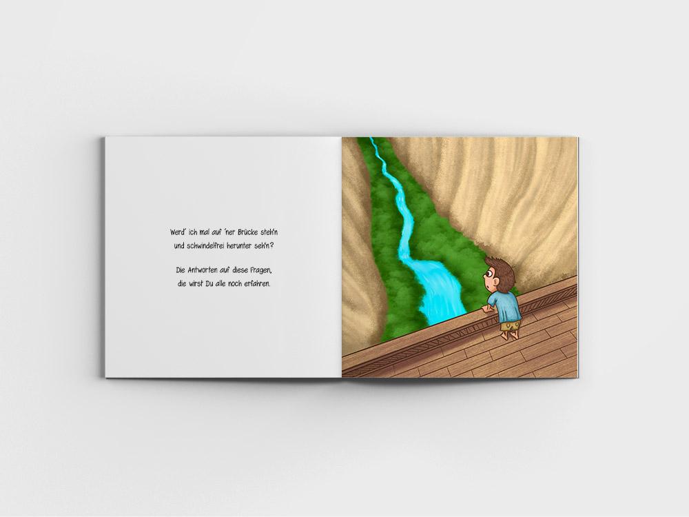 Kinderbuch - Junge steht an einer Bruecke