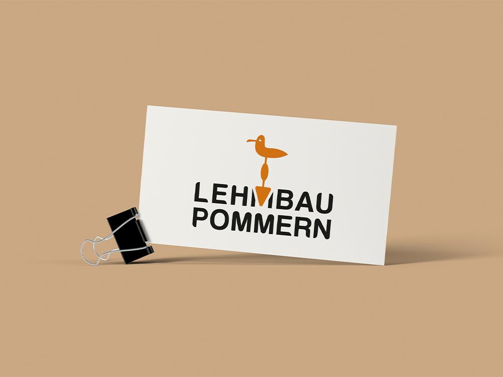 Vorschau auf einer Visitenkarte für das Unternehmen Lehmbau Pommern