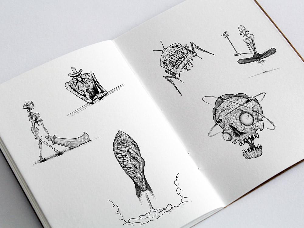 Sketchbook fuer Inktober auf Instagram