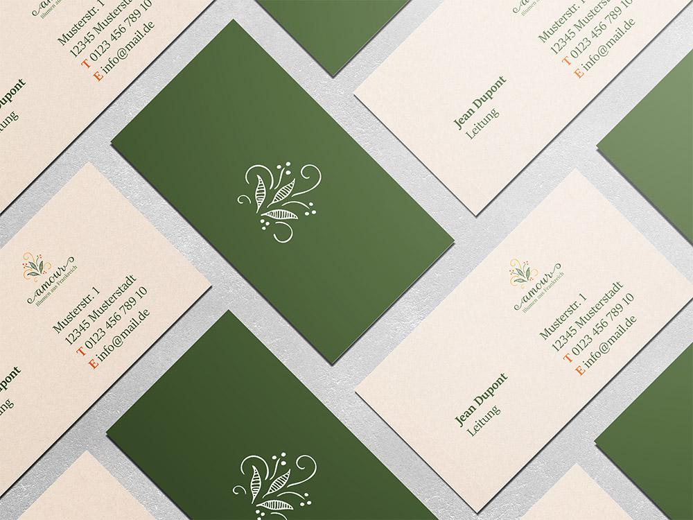 Visitenkartengestaltung fuer einen Blumenladen