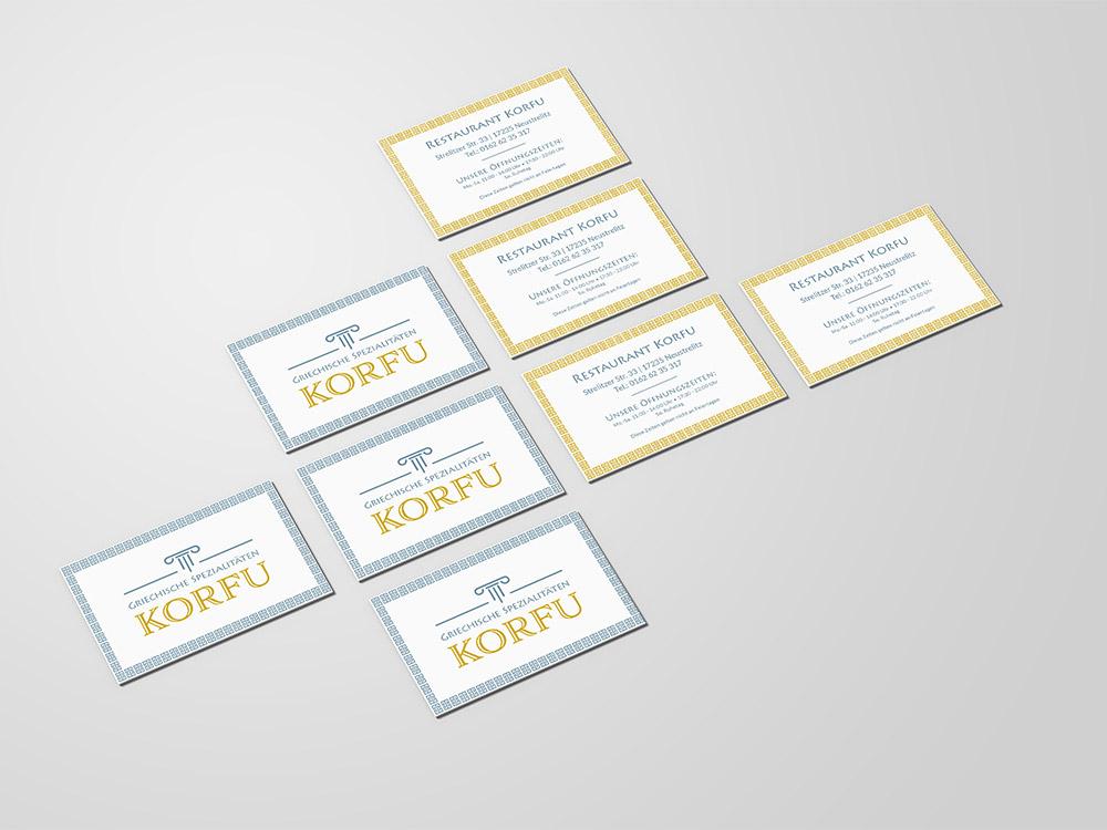 Visitenkarten für das griechische Restaurant Korfu in Neustrelitz