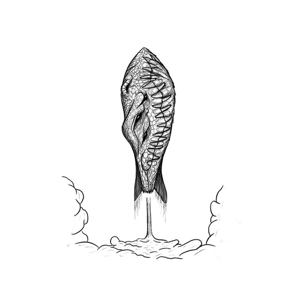 Rakete, Illustration fuer Inktober 2020 auf Instagram